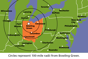 Map showing location of BGSU compared to major cities.