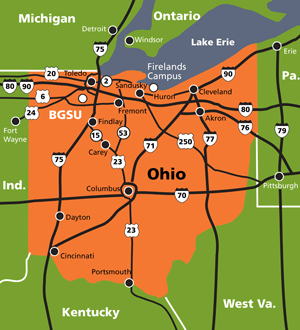Map showing major highways near BGSU.
